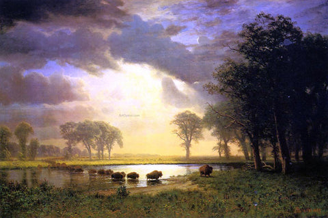 Albert Bierstadt The Buffalo Trail - Hand Painted Oil Painting