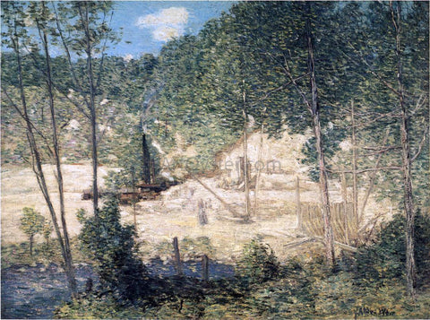 Julian Alden Weir The Building of the Dam - Hand Painted Oil Painting