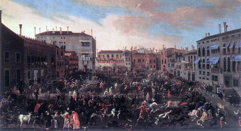 The Younger Joseph Heintz The Bull Hunt in Campo San Polo - Hand Painted Oil Painting