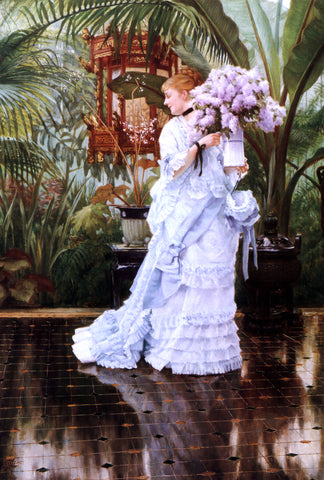 James Tissot The Bunch of Lilacs - Hand Painted Oil Painting
