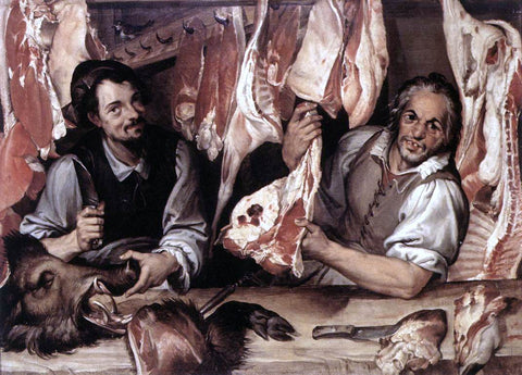 Bartolomeo Passerotti The Butcher's Shop - Hand Painted Oil Painting