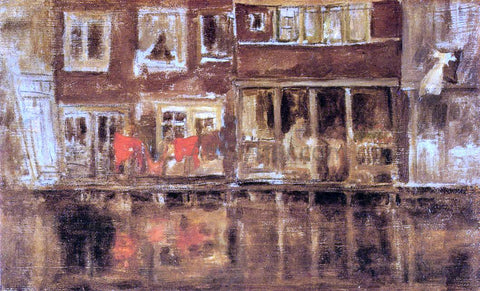 James McNeill Whistler The Canal, Amsterdam - Hand Painted Oil Painting