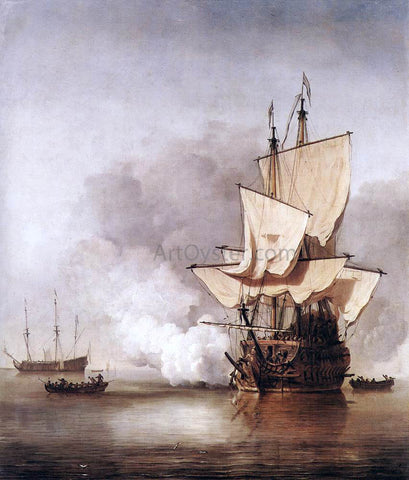 The Younger Willem Van de  Velde The Cannon Shot - Hand Painted Oil Painting