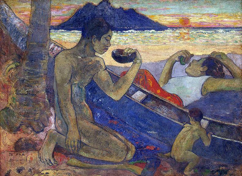 Paul Gauguin The Canoe: A Tahitian Family - Hand Painted Oil Painting