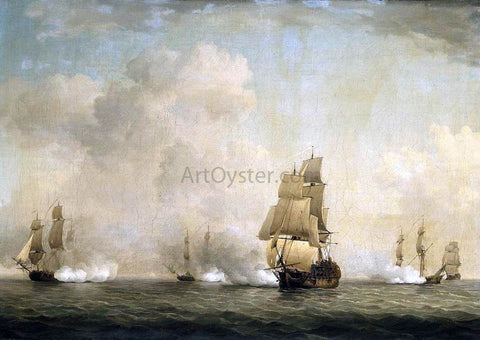 Charles Brooking The Capture of a French Ship by Royal Family Privateers - Hand Painted Oil Painting