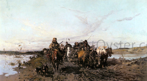 Josef Von Brandt The Caravan - Hand Painted Oil Painting
