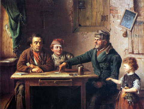 Eastman Johnson The Card Players - Hand Painted Oil Painting