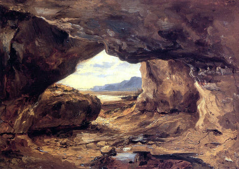 Theodore Rousseau A Cave in a Cliff near Granville - Hand Painted Oil Painting