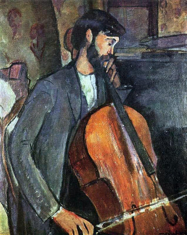 Amedeo Modigliani A Cellist - Hand Painted Oil Painting