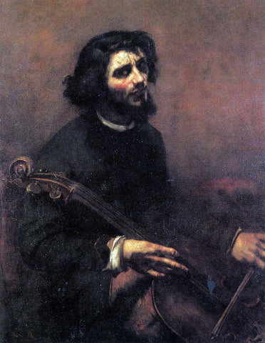 Gustave Courbet The Cellist, Self Portrait - Hand Painted Oil Painting