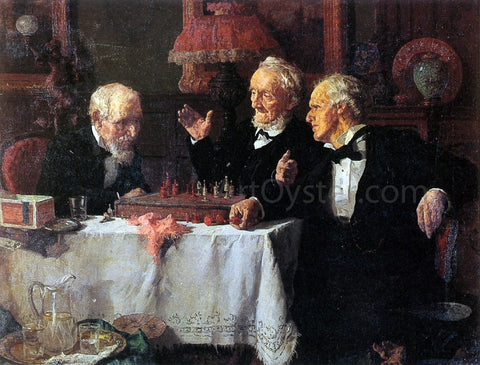 Louis C Moeller The Chess Game - Hand Painted Oil Painting