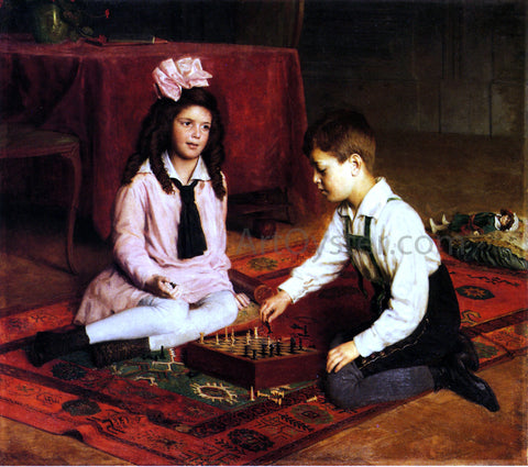Carl Probst The Chess Match - Hand Painted Oil Painting