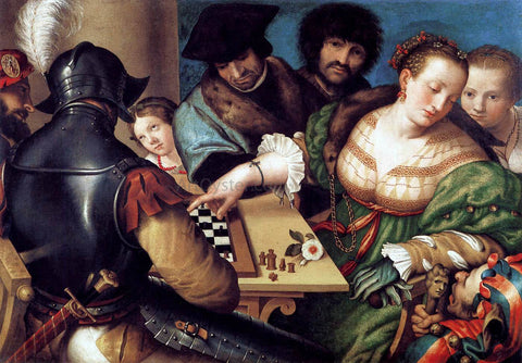 Giulio Campi The Chess Players - Hand Painted Oil Painting