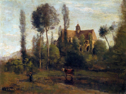 Jean-Baptiste-Camille Corot The Church at Essommes, near the Chateau Thierry - Hand Painted Oil Painting