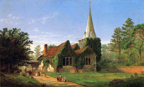 Jasper Francis Cropsey The Church at Stoke Poges - Hand Painted Oil Painting