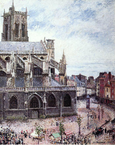 Camille Pissarro The Church of Saint-Jacues, Dieppe, Rainy Weather - Hand Painted Oil Painting