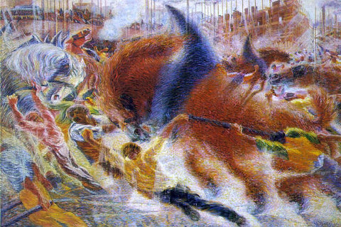 Umberto Boccioni The City Rises - Hand Painted Oil Painting