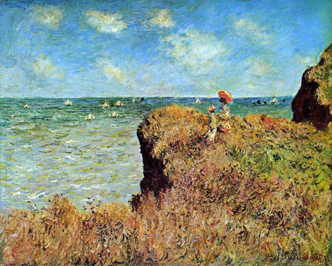 Claude Oscar Monet A Cliff Walk, Pourville - Hand Painted Oil Painting