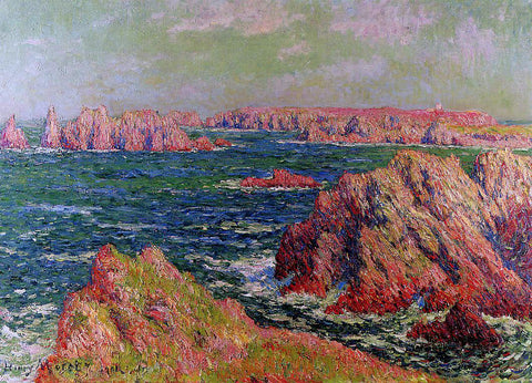 Henri Moret The Cliffs at Belle Ile - Hand Painted Oil Painting