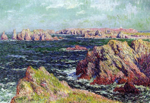 Henri Moret The Cliffs of Belle Ile - Hand Painted Oil Painting