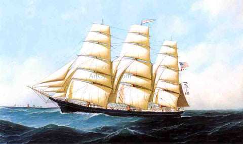 "Antonio Jacobsen The Clipper Ship ""Triumphant"" - Hand Painted Oil Painting"