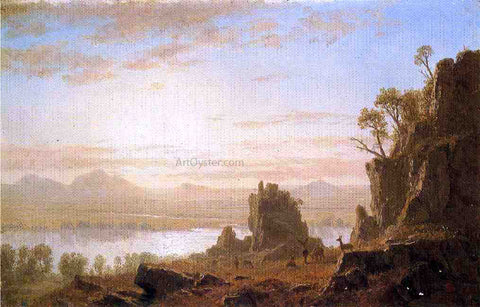 Albert Bierstadt The Columbia River, Oregon - Hand Painted Oil Painting