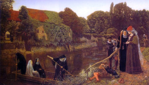 Arthur Hughes The Convent Boat - Hand Painted Oil Painting