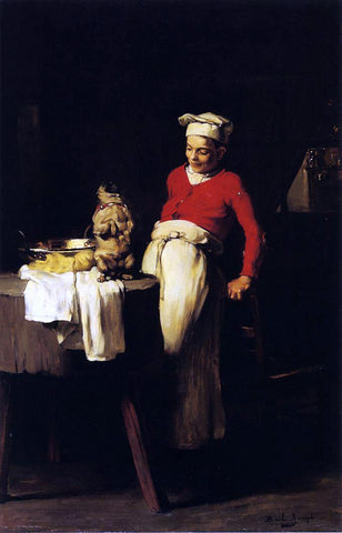 Joseph Bail The Cook and the Pug - Hand Painted Oil Painting
