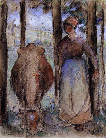 Camille Pissarro The Cowherd (also known as Young Peasant) - Hand Painted Oil Painting
