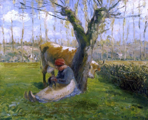 Camille Pissarro The Cowherd - Hand Painted Oil Painting