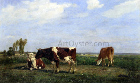 Eugene-Louis Boudin The Cows in a Meadow - Hand Painted Oil Painting