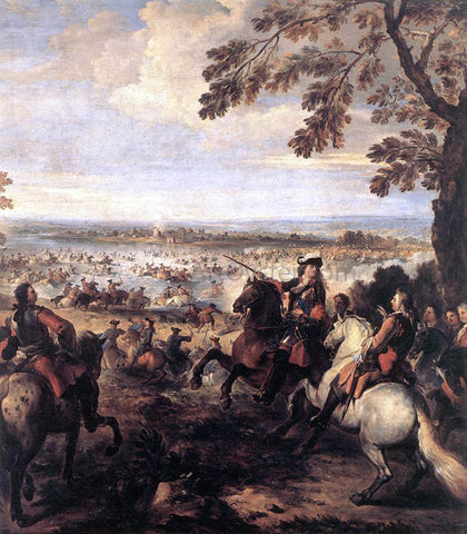 Joseph Parrocel The Crossing of the Rhine by the Army of Louis XIV, 1672 - Hand Painted Oil Painting