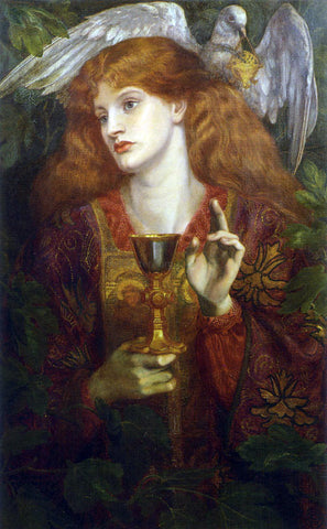 Dante Gabriel Rossetti A Damsel of the Sanct Grael - Hand Painted Oil Painting