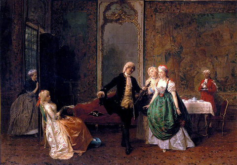 Domenico Induno The Dancing Lesson - Hand Painted Oil Painting