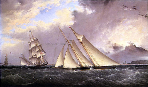James E Buttersworth The Dauntless off Sandy Hook - Hand Painted Oil Painting