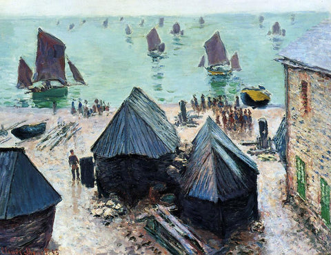 Claude Oscar Monet The Departure of the Boats, Etretat - Hand Painted Oil Painting