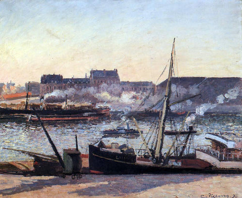 Camille Pissarro The Docks, Rouen: Afternoon - Hand Painted Oil Painting