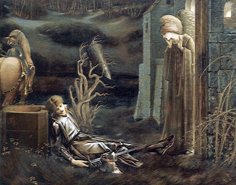 Sir Edward Burne-Jones The Dream of Launcelot at the Chapel of the San Graal - Hand Painted Oil Painting