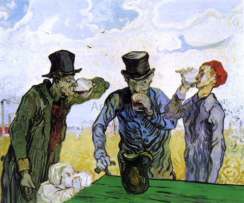 Vincent Van Gogh The Drinkers (after Daumier) - Hand Painted Oil Painting