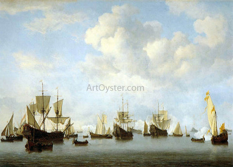 The Younger Willem Van de  Velde The Dutch Fleet in the Goeree Straits (Guinea) - Hand Painted Oil Painting