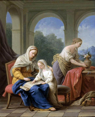 Louis-Jean-Francois Lagrenee The Education of the Virgin - Hand Painted Oil Painting