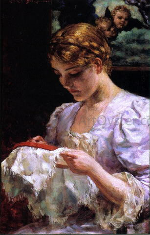 James Carroll Beckwith The Embroiderer - Hand Painted Oil Painting