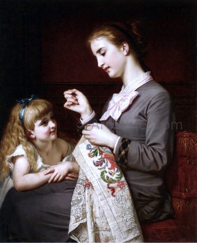 Hugues Merle The Embroidery Lesson - Hand Painted Oil Painting