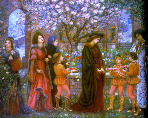 Maria Spartali Stillman The Enchanted Garden of Messer Ansaldo - Hand Painted Oil Painting