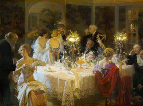 Jules Alexandre Grun The End of Dinner - Hand Painted Oil Painting