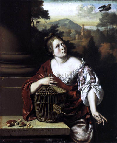 Willem Van Mieris The Escaped Bird - Hand Painted Oil Painting
