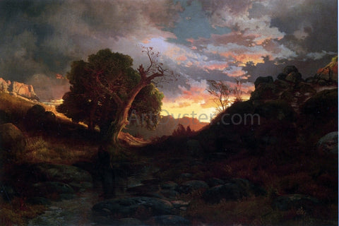 Thomas Moran The Evening Hunter - Hand Painted Oil Painting