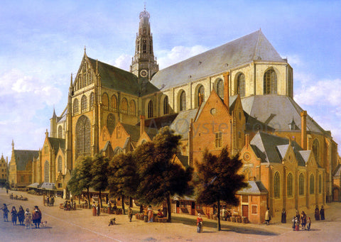 Gerrit Adriaensz Berckheyde The Exterior Of The Church Of Saint Bavo In Harlem - Hand Painted Oil Painting