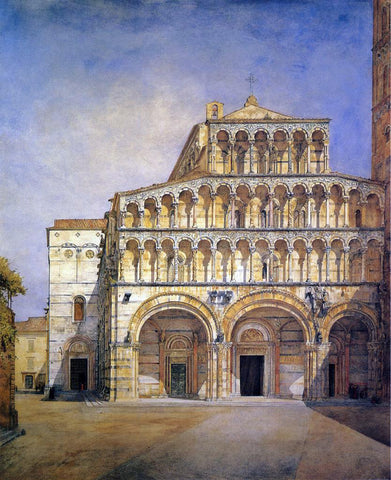 Henry Roderick Newman The Facade of the Duomo at Lucca - Hand Painted Oil Painting