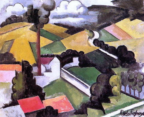 Roger De la Fresnaye The Factory Chimney, Meulan Landscape - Hand Painted Oil Painting